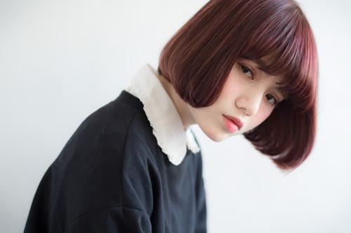口コミで人気の自由が丘の美容室(ヘアアロン,美容院)keep hair designが提案する赤髪ワンレングスボブスタイル