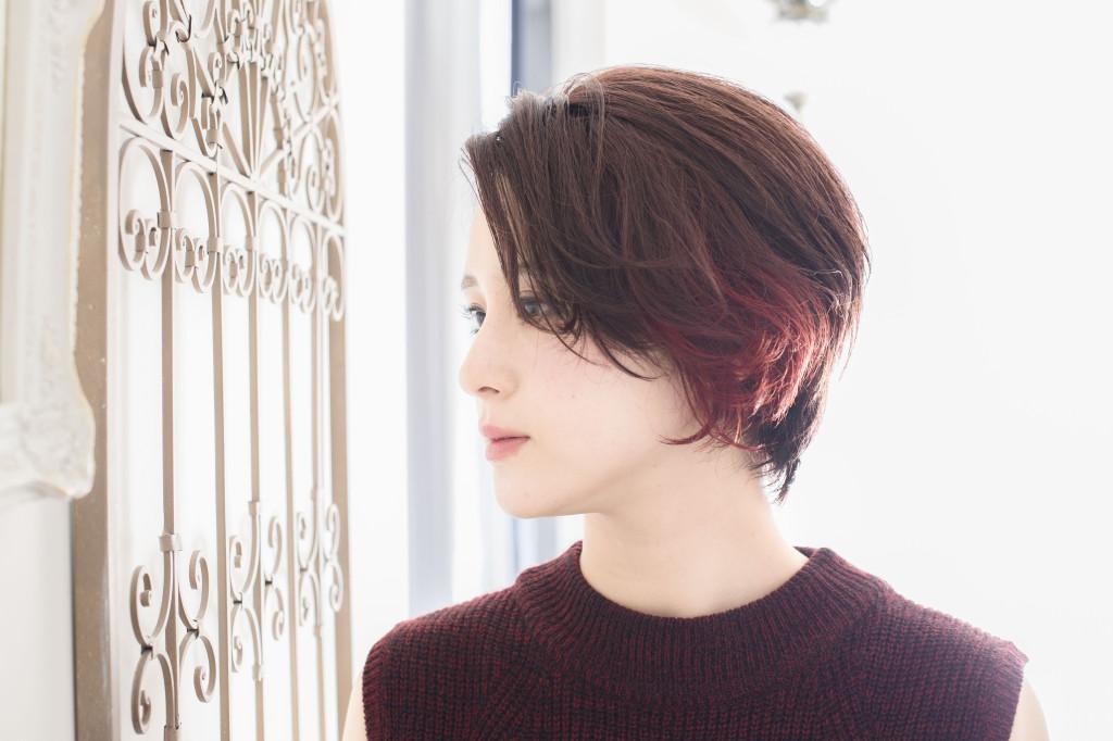 ベリーショートインナーカラー/レッド塩基性カラー使用(齋藤綾乃)