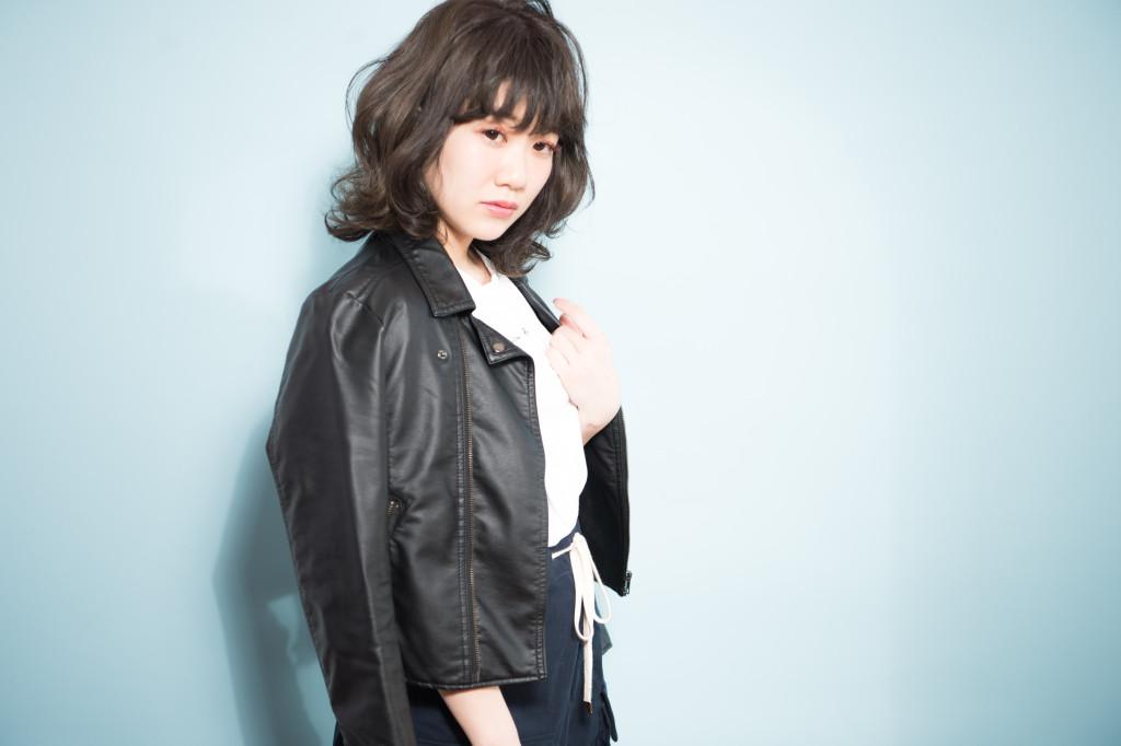 自由が丘美容室keep hair designスタイリスト甲田粋愛黒髪外はねミディアムスタイル